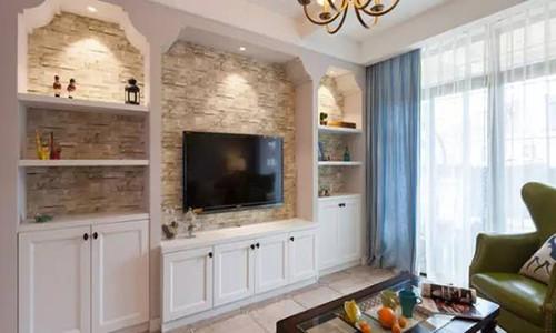 客厅电视墙柜效果图 时尚简约的客厅电视墙柜