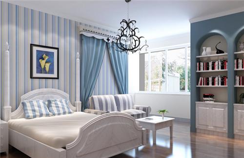卧室墙纸装修效果图 同一空间中不同风格的壁纸搭配